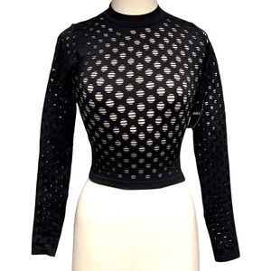 Forever 21 Cropped Open Hole Long Sleeve Shirt